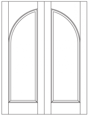 Common Arched Pair with Radiused Panels & Square Top Rail