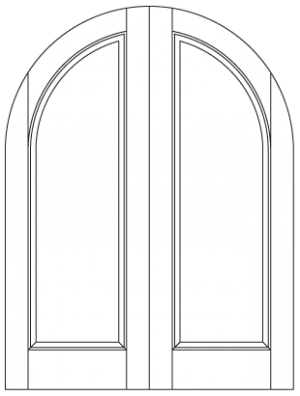 Common Arched Pair with Radiused Panels and Top Rail